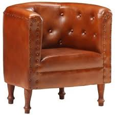 Shop vidaXL <b>Tub Chair</b> Brown/Black/Gray <b>Real</b> Leather - Overstock ...