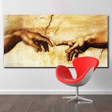 Canvas Painting <b>Creation of Adam</b>! <b>Hand</b> of god! Classical Religion ...