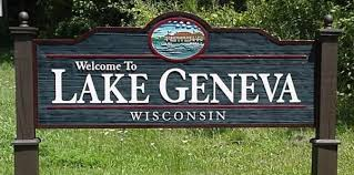 Welcome sign at the entrance to and exit from Lake Geneva, Wisconsin