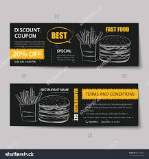 fast food coupon discount template flat stock vector  fast food coupon discount template flat design