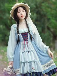 Sweet Lolita OP <b>Dress</b> Light <b>Sky Blue Lace</b> Up Cut Out Lolita One ...
