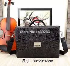 genuine crocodile leather briefcase men fashion alligator skin laptop bag high end business bags black