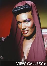 Grace Jones' influence is everywhere right now, from Rihanna's sharp-shouldered, androgynous silhouettes to Lady Gaga's vivid, punky-alien makeup. - grace-jones-make-up-300x425