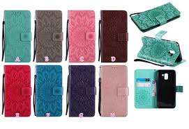 <b>Luxury</b> Imprint <b>Sunflower Wallet Leather</b> Case For Galaxy A6 Plus J7