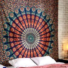 Chic Peafowl Printed Tapestry <b>Bohemia Mandala Floral</b> Carpet <b>Wall</b> ...
