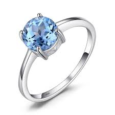 JewelryPalace1.6ct <b>Natural</b> Sky Blue Topaz Solitaire Ring 925 ...