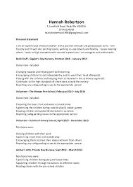 childcare cvchildcare cv  hannah robertson  limefield road  radcliffe m  su   hannahrobertson   googlemail com personal statement