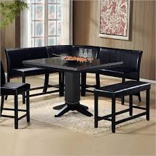 black kitchen dining sets: this sleek black corner dining set works as a free standing unit or can