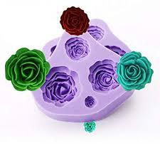2pcs 4 <b>Size Rose</b> Flower <b>Silicone</b> Fondan Mould Sugarcraft Cake ...