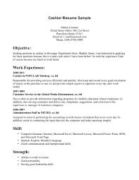 resume cashier example