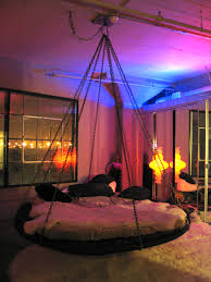 floating round hanging bed with chains and fabulous lighting bed lighting fabulous
