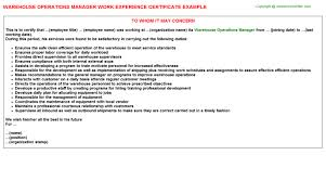 operations manager work experience certificatewarehouse operations manager work experience certificate