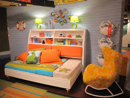 l modern kids bedroom design in small space displaying white finish wooden beds combined with bookcase and interesting yellow fabric chaise lounge chair beautiful combination wood metal furniture