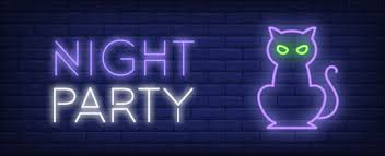 Free Vector | Night <b>party neon</b> style banner. <b>cat</b> on brick background ...