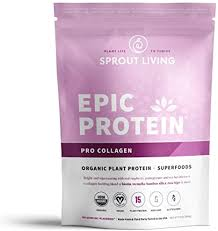 Sprout Living <b>Epic Protein Powder</b>, Pro Collagen, <b>Organic Plant</b>