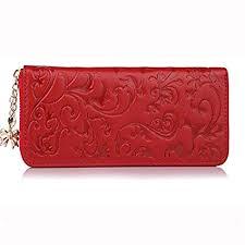 Buy Cowherd <b>Fashion Genuine Leather</b> Long Purse Flower ...