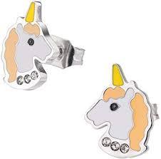 HOONAO <b>316L Surgical</b> Stainless Steel Earrings <b>Crystal</b> Unicorn ...