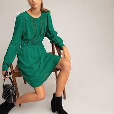 <b>Платье расклешенное</b>, <b>короткое</b>, кружевные вставки <b>La Redoute</b> ...