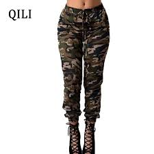 Adequate supply <b>QILI</b> Camouflage <b>Printed Women</b> Trousers Elastic ...