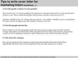 Tips to write cover letter for marketing intern