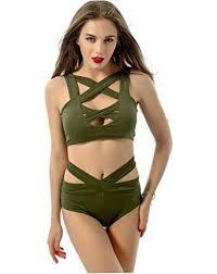 SZJH <b>Women Sexy Criss Cross</b> Swimwear Push Up Bandage High ...