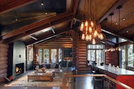 image of log cabin kitchen curtains cabin lighting ideas