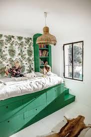 bedroom kid: chez stacphanie ferret milk decoration green bed in kids room wicker light