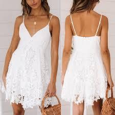 Fashion <b>Womens Dress</b> White <b>Dress Sexy</b> Backless Sleeveless V ...