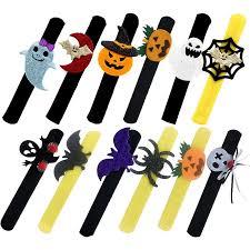 12PCS Party Bracelet <b>Decorative Halloween Theme Patterns</b> Slap ...