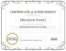 blank online certificate certificate templates certificate of achievement word