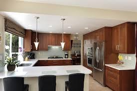 brown wooden shaped kitchen