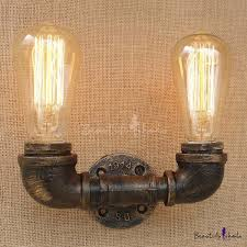 Old Bronze 2 Light Wall Sconce Industrial <b>Pipe</b> Wall Lamp for ...