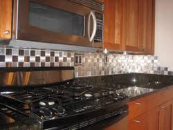 kitchen backsplash stainless steel tiles: residential kitchen photo alchemy i stainless steel backsplash tiles photo