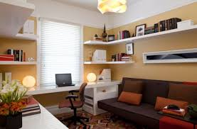 interior ideas furniture home office room design with l shape white wooden wall shelves on peach awesome trendy office room space decor magnificent