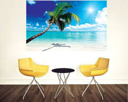 palm tree wall stickers: beach wall decal palm tree wall murals beach bedroom wall mural white sand beach wall design peel and stick palm tree view wall murals c