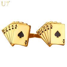 U7 <b>Poker Cufflinks for Mens</b> Shirt Accessories Gold Color High ...