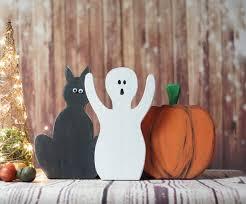 Rustic <b>Halloween Black</b> Cat <b>Pumpkin</b> Decor Ghost Shelf   Etsy