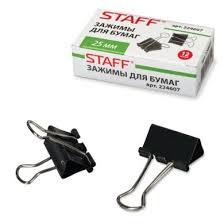 Зажим для бумаг STAFF 25 мм черный (12) - Солнечный ветер