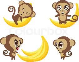 Set of <b>cartoon funny</b> monkeys with big ... | Stock vector | Colourbox