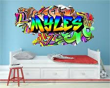 fullcolour personalised 3d graffiti name <b>cracked wall</b> sticker decal ...