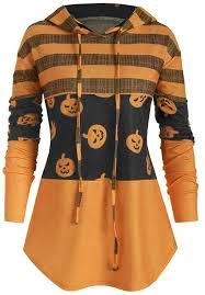 ANJUNIE Women <b>Pumpkin Printing Drawstring</b> Hoodie Curved Hem ...