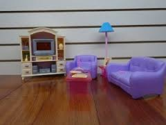 barbie size dollhouse furniture living room with tvdvd set show case amazoncom barbie size dollhouse