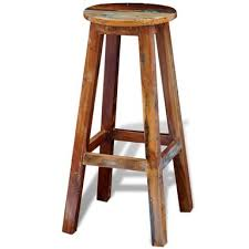 vidaXL <b>Solid Reclaimed</b> Wood <b>Bar Stool</b> | Bunnings Warehouse