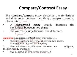 essay writing lecture  recap what is a paragraph paragraph  the comparecontrast essay discusses the similarities and differences between two things people