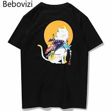 <b>Bebovizi</b> Japanese <b>Hip Hop</b> Cute Cat Printed T Shirts Summer ...