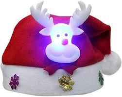 kangOnline Christmas Hat with LED Light <b>Cartoon Santa Elk</b> ...