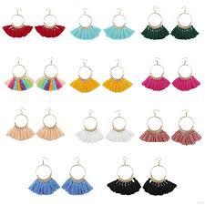Women Big Circle Elegant <b>Bohemian Tassel Earrings Retro</b> Alloy ...