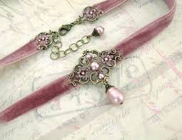 <b>Dusty pink</b> velvet choker with patina brass floral filigree and ...