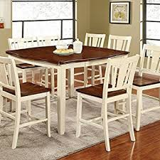 cherry counter height piece: dover transitional style white amp cherry finish  piece counter height dining table set