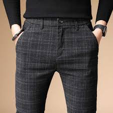 Plaid Pants <b>Men</b> 2020 <b>Summer Business</b> Dress Slim Fit Skinny ...